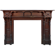Amazing Antique Walnut Fireplace Mantel, Late 19th Century