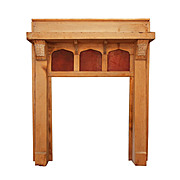 Striking Antique Tudor Fireplace Mantel with Leather Panels, Fleur-De-Lis