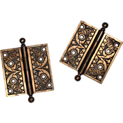"Delightful Pair of Antique Cast Iron 4 ½"" Hinges with Original Bronze Wash, 19th Century"