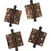 """Charming Pairs of Antique Eastlake Cast Iron 2.5"""" Hinges, c. 1880's"""