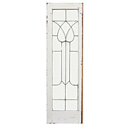 Antique American Beveled and Leaded Glass Window, Stylized Flower