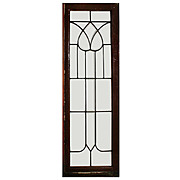 Splendid Antique American Beveled and Leaded Glass Window, Stylized Flower