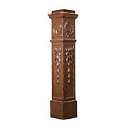 Beautiful Antique Boxed Newel Post with Wreaths & Ribbons, c. 1900