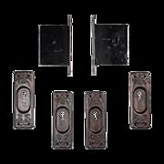 SOLD Complete Antique Pocket Door Hardware Set for Double Doors, c. 1880's