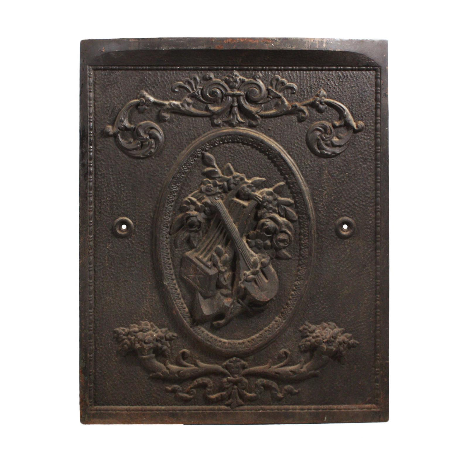 amazing antique cast iron fireplace cover with musical