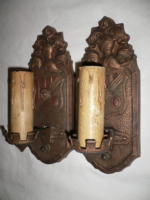 Gorgeous Pair of Antique Spanish Revival Figural Sconces, Markel Co.