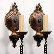 Marvelous Pair of Antique Single-Arm Art Deco Sconces, Cast Bronze