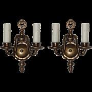 Marvelous Pair of Antique Cast Brass Double-Arm Sconces