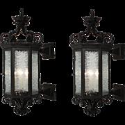 Substantial Pair of Antique Iron Exterior Lantern Sconces