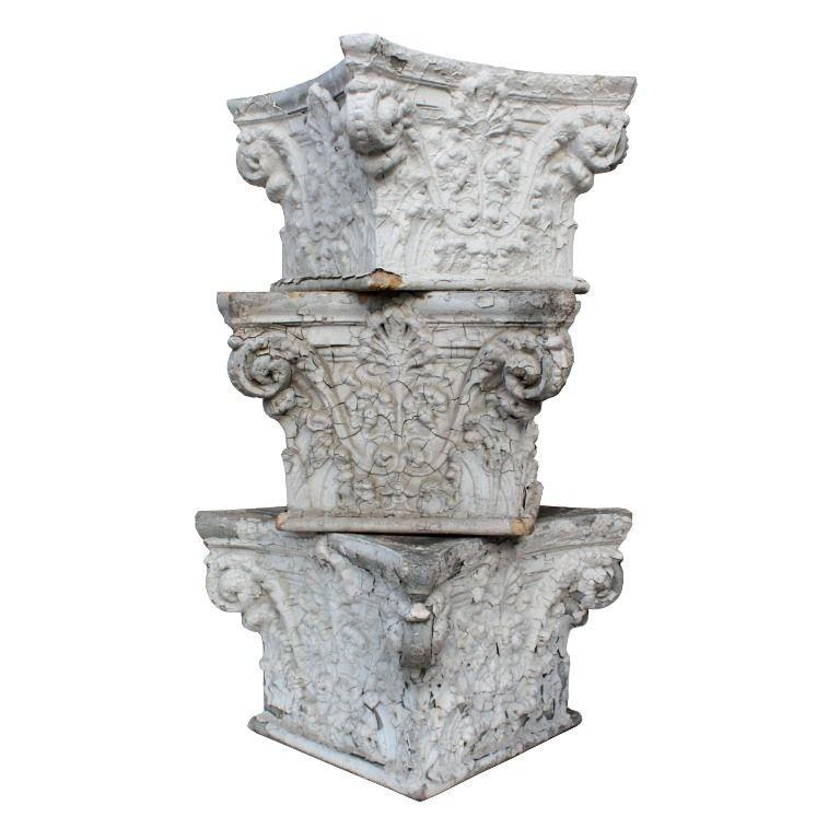 Antique White Terra Cotta Corinthian Column Capitals, c. 1915 – ONE AVAILABLE