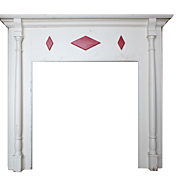 Elegant Antique Fireplace Mantel with Geometric Detail, c. 1900
