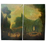 Pair of large painted panels, French school, oil on canvas