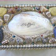 Antique Large Victorian Shell Art Box