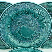 "Set of Four Green Majolica Plates  8 1/2"""