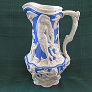 """Antique Charles Meigh Relief Molded Mythological Stoneware Blue and White Jug/ Pitcher """"1"""