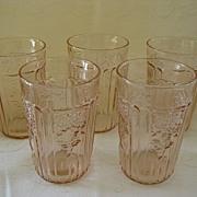 "SALE Set of Five Pink Depression Glass Mayfair ""Open Rose""  Juice Glasses  5 0z. Tum"