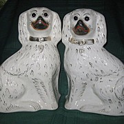 SALE Antique Pair of Staffordshire White Dogs/Spaniels