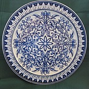 """Blue Transferware Plate """"Teutonic"""" by Brown Westhead Moore & Co."""