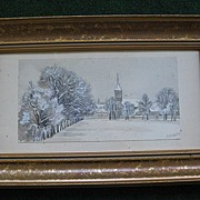 SALE Antique 1835 Pencil, Watercolor, Framed Drawing of Church and Trees
