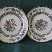 """Two Copeland Spode Plates 7 1/2"""" Pattern """"Chinese Rose"""""""