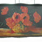 SOLD Hand Painted Wood Tray with Red Flowers