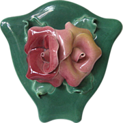 Vintage Ceramic Green Wallpocket - Johannes Brahm - Calf.