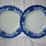 Pair of Flow Blue Bowls  Art Nouveau Design