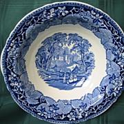 Staffordshire Blue and White Transferware Bowl   Masons    Pattern Vista