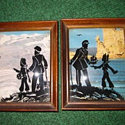 SALE Vintage Wooden Framed Pair of Reverse Painted Silhouettes