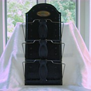 Large English Black Metal Wall Plaque, Newspaper, Magazine, or Letter Rack