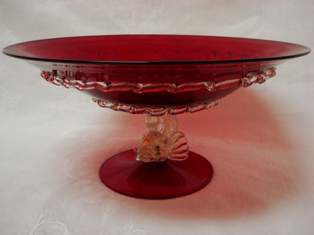 ruby venetian murano glass centerpiece bowl with dolphin base from provenancenaples on ruby lane. Black Bedroom Furniture Sets. Home Design Ideas