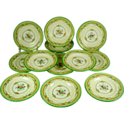 REDUCED Antique Minton Green Bread and Butter Plates set 12