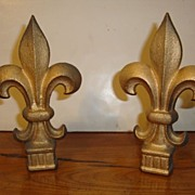 Pair of cast iron French Fleur de Lys