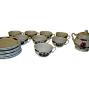 SOLD Coffee set of 6 French Obernai Sarreguemines plates, cups and sugar bowl