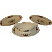 Set of 2 French platters trays and one saucer by Obernai Sarreguemines, Alsace