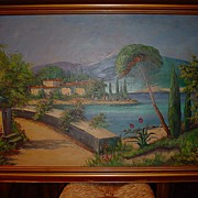 Painting Oil on canvas Greek village circa 1950