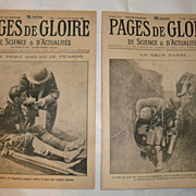 SOLD Set 2 Authentic French newspapers WWI 1916 Pages de Gloire