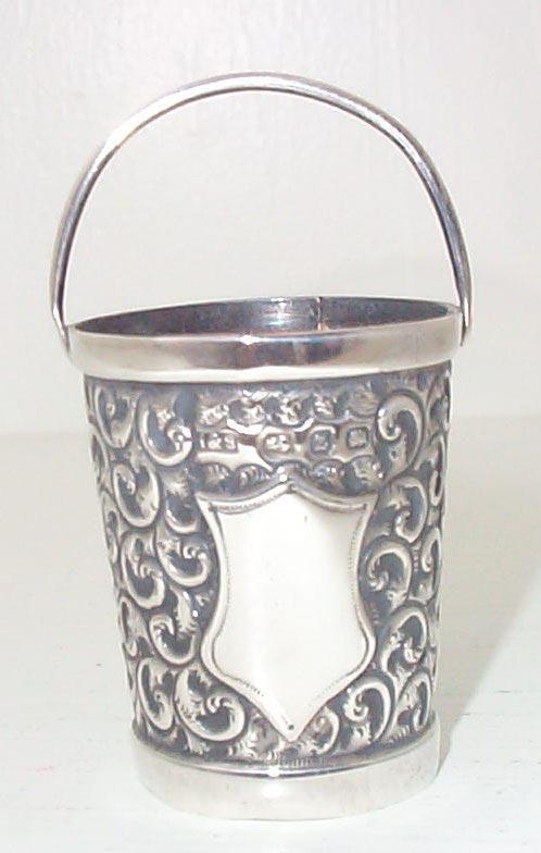 Victorian English Miniature Sterling Bucket 1899