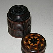 SOLD Rare Antique Rosewood and Tunbridge Ware Travel Inkwell