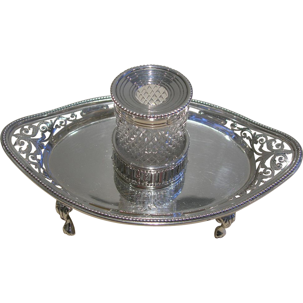 Beautiful Small Victorian Pierced Sterling Silver Inkstand / Inkwell