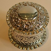 Antique English Sterling Silver Cylindrical Box - Art Nouveau - 1902