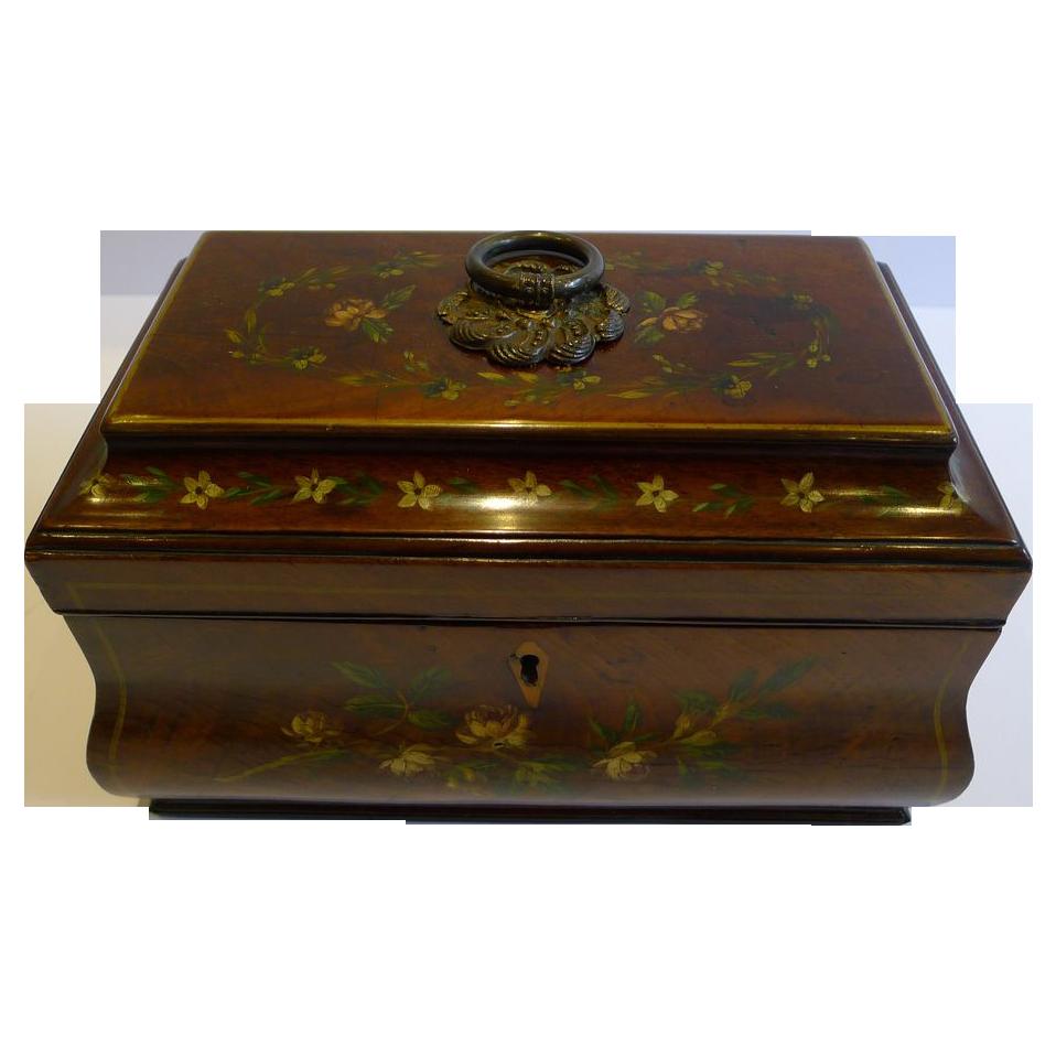 Antique English Tea Caddy - Floral Painted Mahogany c.1820