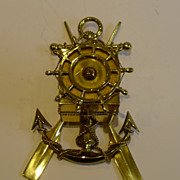 SOLD Antique English Brass Nautical Inkwell c.1890