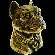 Antique English Figural Brass Inkwell - Dog - French Bulldog, c.1880