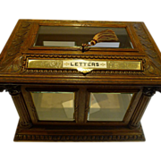Rare & Grand Antique English Carved Oak Letters / Postal Box by Halstaff & Hannaford, London c.1870