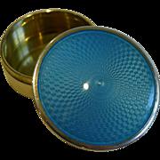 Stunning English Sterling Silver & Blue Guilloche Enamel Pill Box