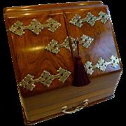 Antique English Brass Mounted Walnut Stationery Cabinet / Writing Box c.1890