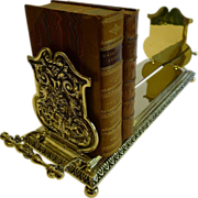 Unusual Antique English Brass Book Carrier / Holder - Reg. For 1889