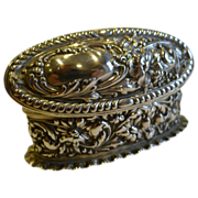 Antique English Sterling Silver Ring Box For Two Rings - 1903