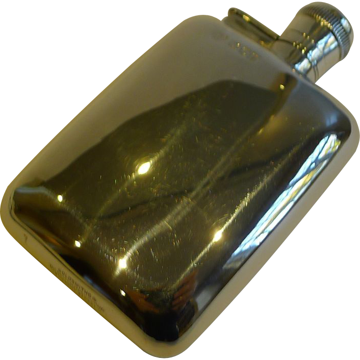 English Sterling Silver Liquor / Whisky Flask - London 1916
